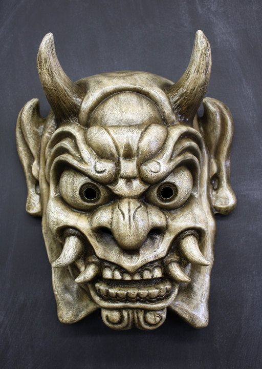Oni Mask in Antique White Finish by FAUSTandCOMPANY on Etsy, $165.00