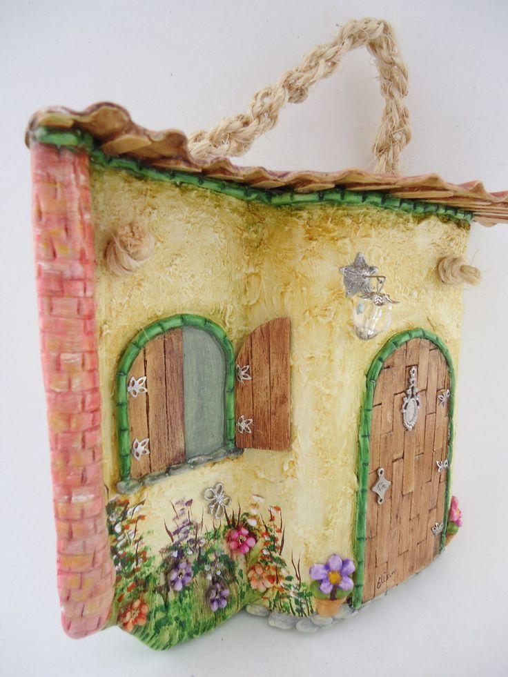 Telha decorada - Colonial com telhado - técnicas: pintura à óleo, modelagem em…
