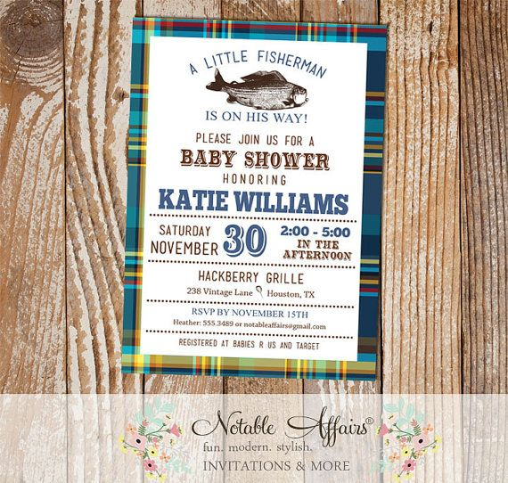 Blues And Greens Plaid Vintage Fish Little Fisherman Baby Shower Invitation    Fishing Baby Shower   Boy Baby Shower   No Color Changes
