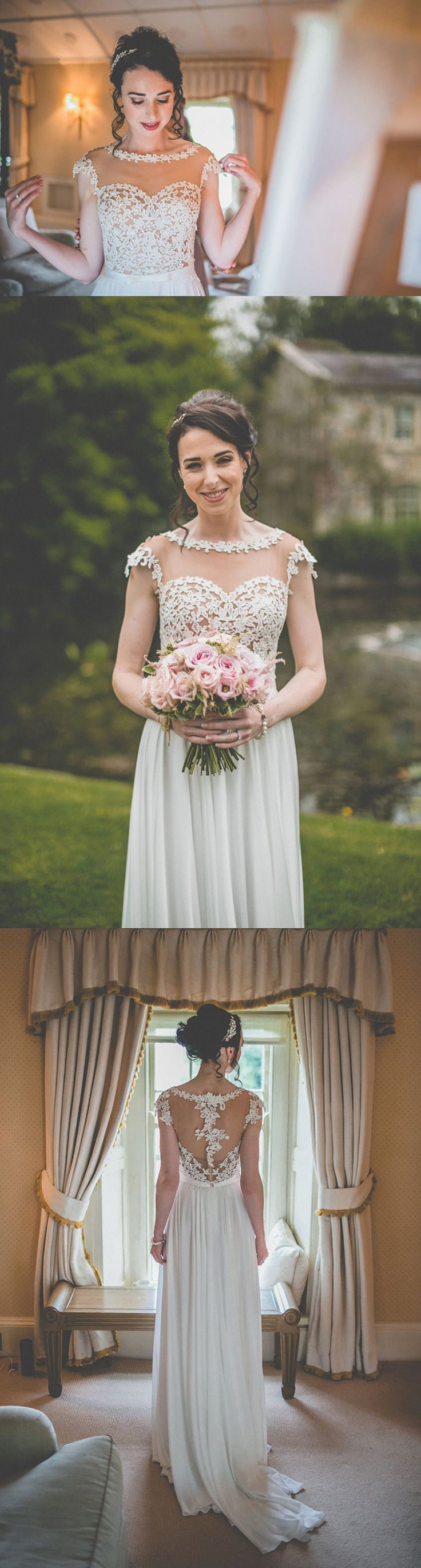 Cap Sleeve See Through Yarn Appliques Back Lace Chiffon A-line Wedding Dresses, WD0142
