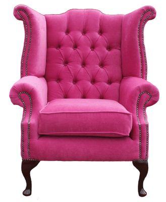 Pink Velvet Wingback Armchair