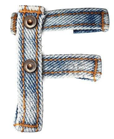 brief van jeans alfabet op een witte achtergrond op te slaan paden voor ontwerpen photo