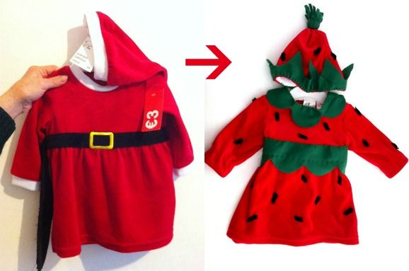 The strawberry costume in a costume created from recycled christmas  Autrice: Tina
