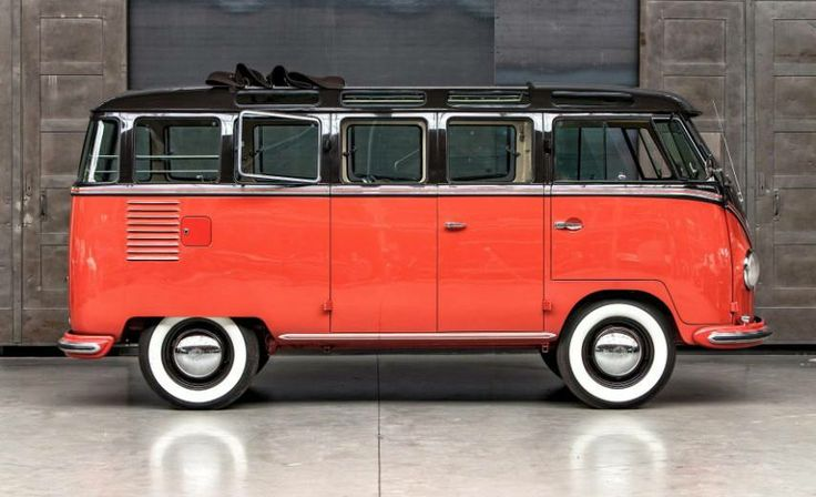 The 1956 VW Samba Bus 23 Fenster. The Samba Bus featured skylight windows and cloth sunroof (first generation) and marketed as an ideal vehicle for touring the Alps. Photos thiesen-berlin.de