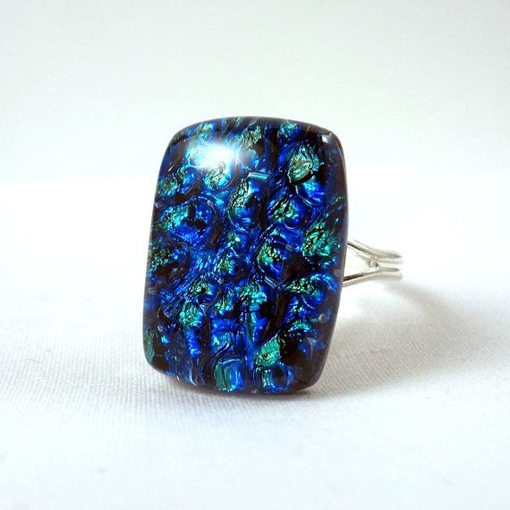 RG02  Exclusive fused dichroic glass ring by VerreArts on Etsy