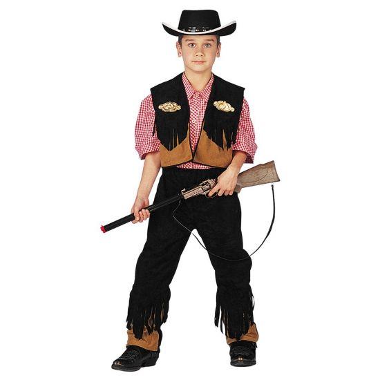 Cowboy kostuum voor kinderen. Dit kinder cowboy kostuum bestaat uit een bruine broek met bruin hesje beide met zwarte franjes. De outfit is exclusief het geweer en de hoed.