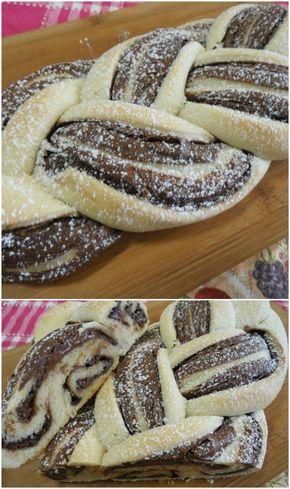 Treccia aperta alla nutella , facile e golosissima ! #treccia #trecciaaperta #nutella #trecciaallanutella #ricettegustose