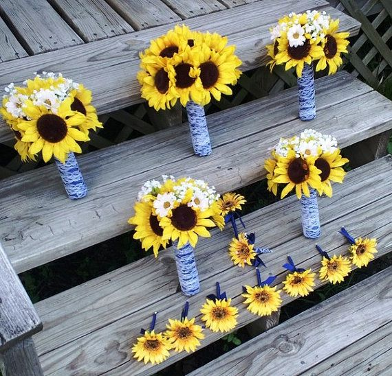 10 piece Yellow Sunflower Bouquet Bridal by SilkFlowersByJean