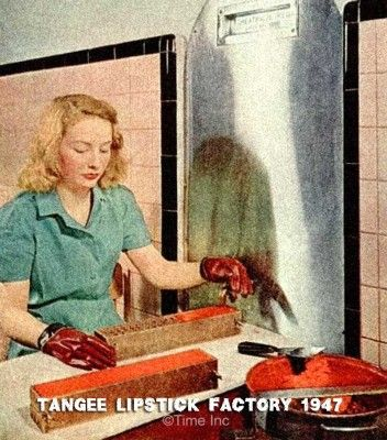Lipstick making at the Tangee factory begins with pouring and mixing of ingredients in large stainless steel vats, which are heated by steam to approximately 190F. Presently a workman pours out a sample from a new mixture for testing and analysis in the laboratory. In this image four different shades are being compounded!