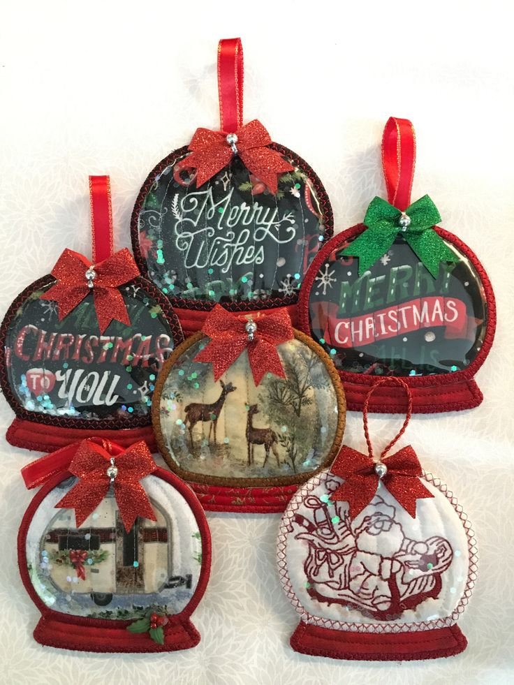 My machine embroidered Christmas ornaments for 2019. in