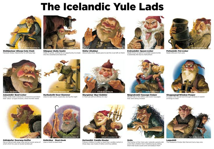 "The Icelandic Yule Lads, known as ""Jólasveinar"", begin making their appearance 13 days before Christmas arriving one by one each night and leaving small gifts for the children. 13 days of gifts as well as Christmas gifts from Santa, sounds like a great idea to me! The Yule Lads originated from Icelandic folklore and were … … Continue reading →"