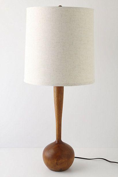 Teak and White Table Lamp   Mid Century Modern