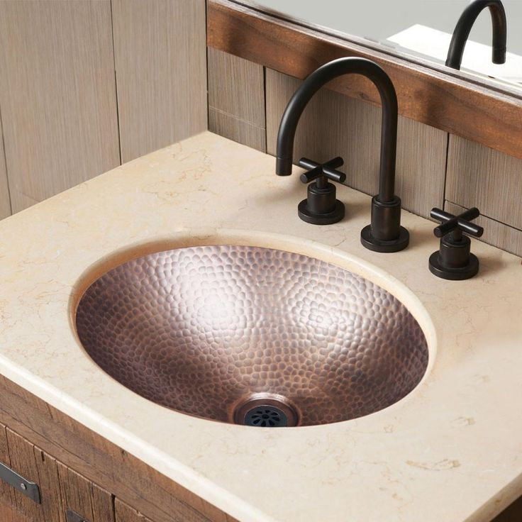 Pure Copper Hand Hammered Oval Drop In Bathroom Sink (17 inches)