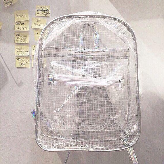 Clear Backpack Transparent Rucksack White Grid Vinyl Travel School Bag Perfect for art stuff!