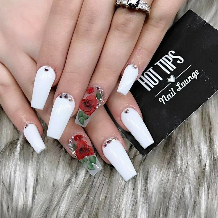 Tapered Square Nails. Long Square Nails. White Nails. Nails With Roses. 3D Art. Acrylic Nails.