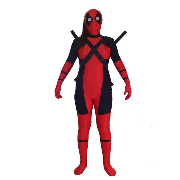 Free shipping Lady Deadpool Costume Red full body spandex girl women female Heros Deadpool Zentai Suit