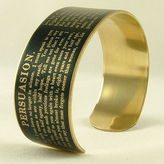 Jane Austen Persuasion - Captain Wentworth's Letter - Literary Quote Brass Cuff Bracelet