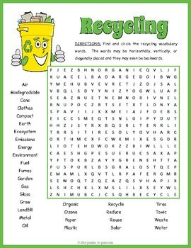 Recycling Word Search Puzzle: Use as a supplement while teaching a unit on recycling or as a fun treat to celebrate Earth Day with. There are a total of 32 vocabulary words to look for.  Puzzlers will have to search in all directions to track them down.This would make a great filler activity or early finisher recycling handout while studying the environment.
