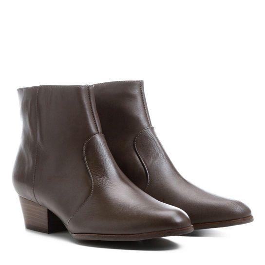 Bota Couro Cano Baixo Shoestock - Preto
