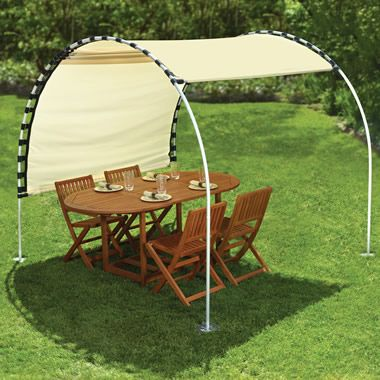 """sun shelter with an adjustable canopy that provides respite from the sun any time of the day without requiring relocation.  The frame is made from durable anodized aluminum and has four 8""""-diameter stainless steel feet, providing resistance to winds   Beige canopy. 8 1/4' L x 7 1/4' W x 7' H. DIY with shower curtain rings, - adjustable canopy, DIY with shower curtain rings, grommets, canvas,"""