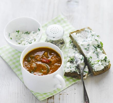 Use roasted vegetables in this speedy, low calorie soup - we used peppers, aubergines, onions and courgettes. Serve with herby ricotta-topped rye bread