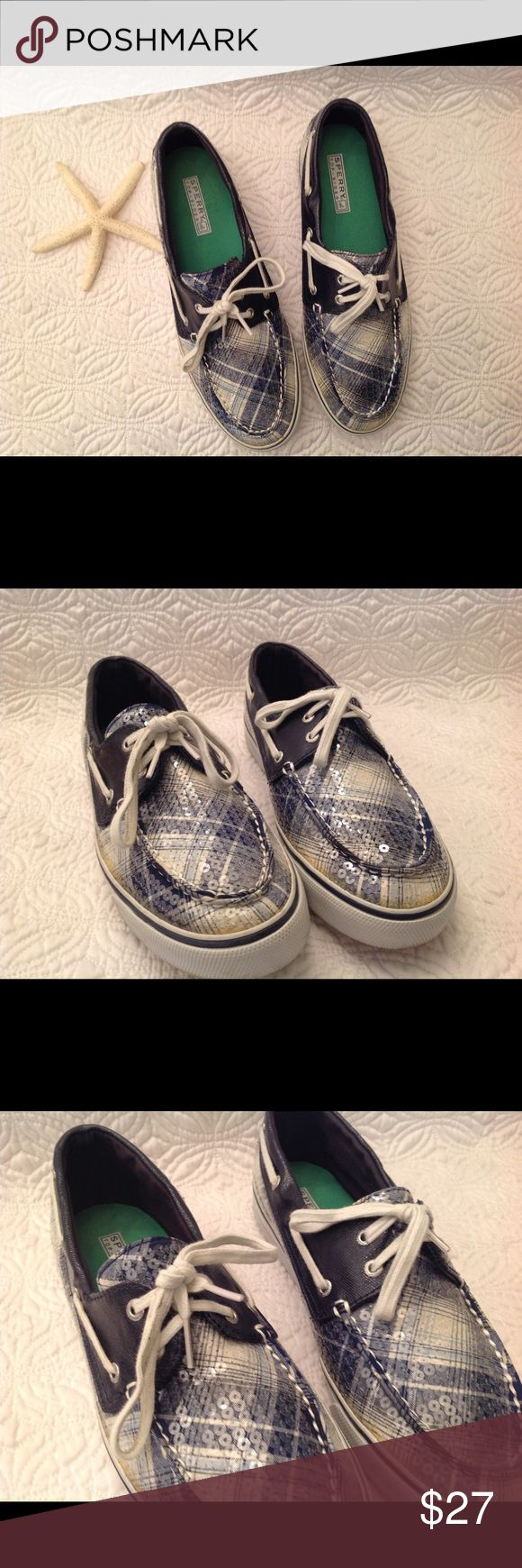 Sperry Top Sider Sequined Blue Plaid Boat Shoes Gently loved. Very clean. Smoke free environment. Sperry Top-Sider Shoes Athletic Shoes