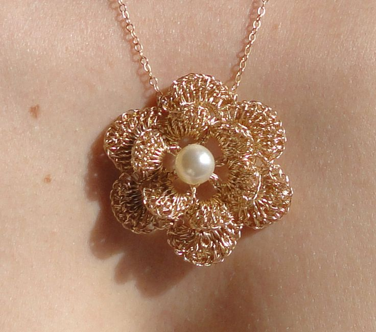 Gold filled crochet wire necklace with flower pendant - gold lace crochet wire necklace -