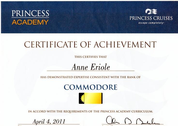 Princess Commodore Certificate of achievement, Princess