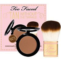 Too Faced - Tan Without The Twinkle $15 smells and even tastes just like cocoa! Matte. #ultabeauty