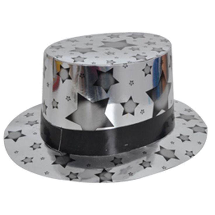 Gümüş Renk Siyah Bandlı Kağıt Fötr Şapka