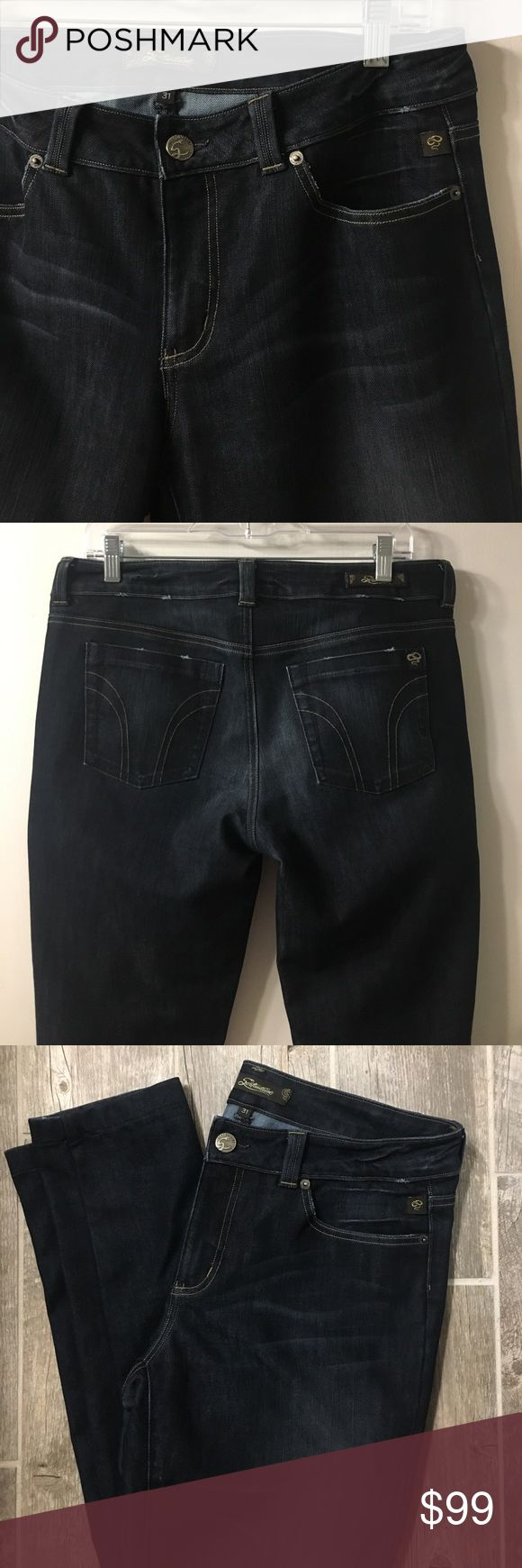 Serfontaine size 31 Dark Skinny Jeans Dark denim, skinny cut, light tan lines stitched on back pockets. 41 inches top to bottom. 9 inches crotch to zipper. 36 inches around waistband. Serfontaine Jeans Skinny