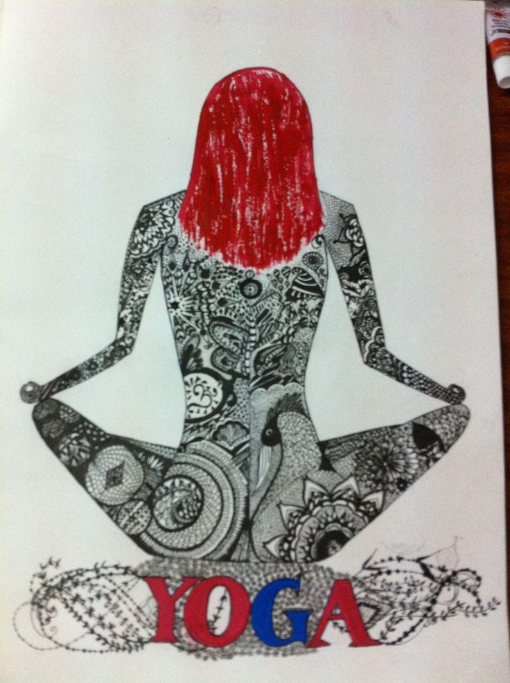 Zentangle yoga girl.. Handmade.
