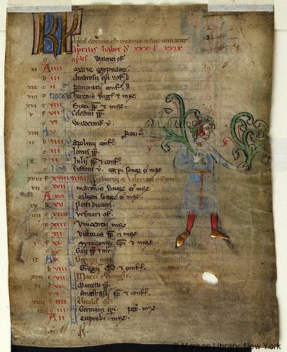Church Calendar leaves, MS M.908.2 fol. 1r - Images from Medieval and Renaissance Manuscripts - The Morgan Library & Museum