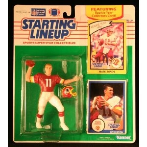 MARK RYPIEN / WASHINGTON REDSKINS 1990 NFL Starting Lineup Action Figure & Exclusive NFL Collector Trading Card (Toy)
