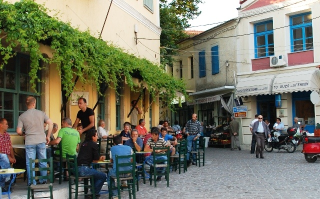 Plomari, Lesvos.  Loved this island and town.  Great tavernas, ouzo and olive oil production - what more do you need (besides beaches which they have also!)