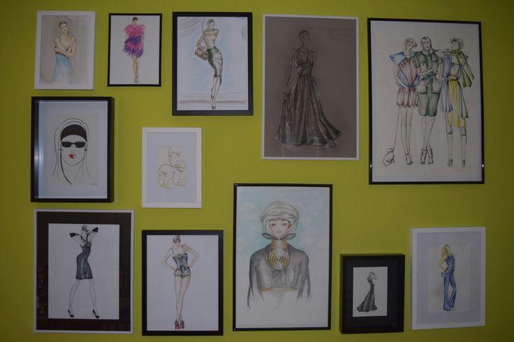 The wall of fashion, alle Zeichnungen von Conny Feller