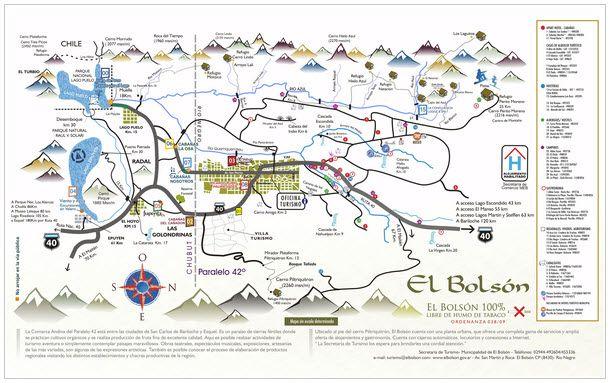 Mapa El Bolson y comarca del paralelo 42