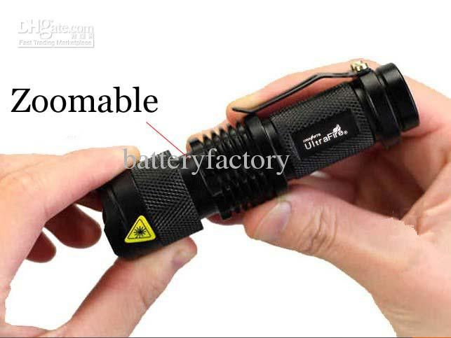 Brand New Ultrafire 300LM CREE Q5 LED Camping Flashlight 3-Mode Torch Adjustable Focus Zoom waterproof flashlights Lamp