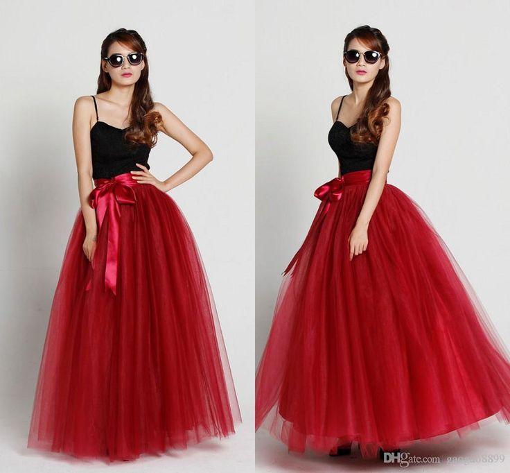 2016 Red Burgundy Maxi Tulle Skirt Floor Length Tutu Skirt Fixed Waist Tulle Tutu Princess Skirt Wedding Prom Formal Skirt In Cherry From Gaogao8899, $35.17 | Dhgate.Com