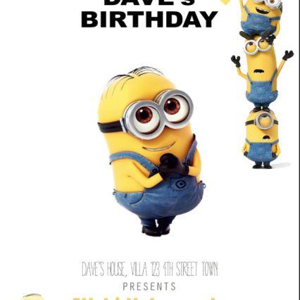 Birthday party invitation with minion theme
