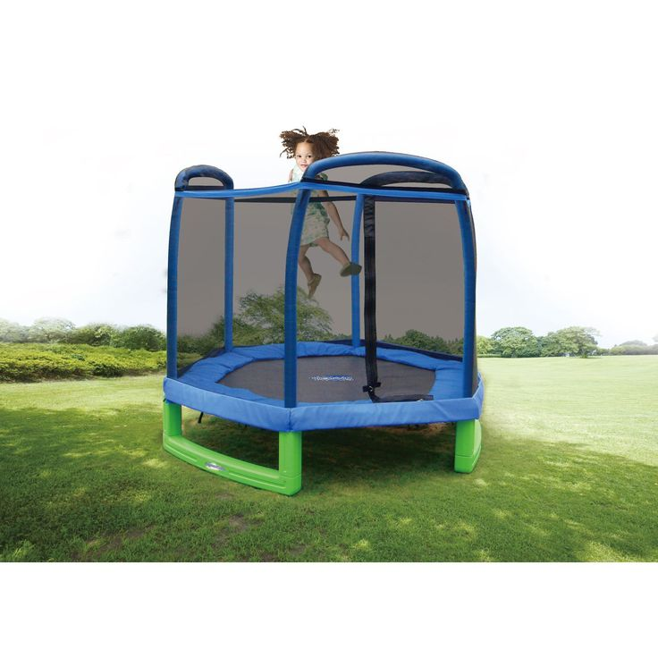 This would be so much fun for the kids. My First Trampoline: includes enclosure for safety, is easy to assemble and can be used indoors and outdoors.