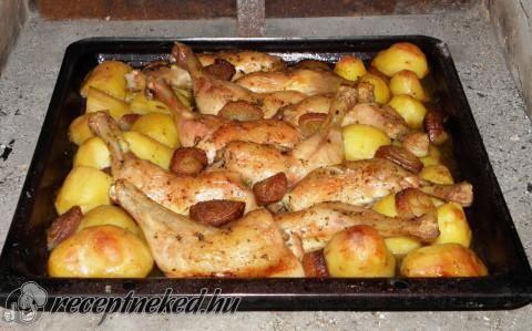 Kemencés csirkecombok pékné módra
