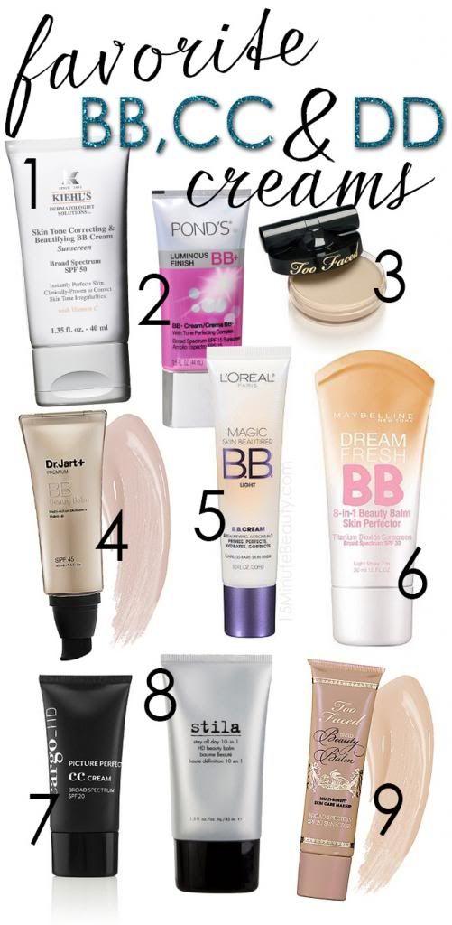 My favorite BB and CC Creams via @15MinBeauty