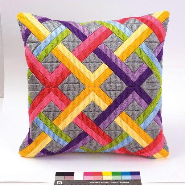 Vervaco Long Stitch Cushion Kit: Weave Bold Geometric Style