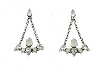 Handmade bridal antique metal plated earrings with Swarovski crystals and strasses, by Art Wear Dimitriadis