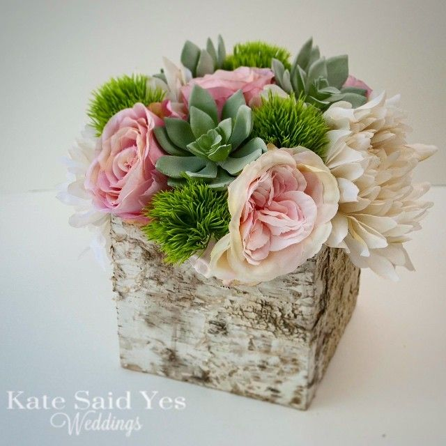 A rustic rose and succulent birch centerpiece in our studio today! By Kate Said Yes Weddings! #wedding #weddings #weddingday #weddingdecor #centerpiece #succulents #rusticwedding #rustic #rusticbride #roses #springbride #springwedding #love #etsy #engaged #bridetobe #proguidevendor #theweddingpages #theperfectpalette #katesaidyesweddings #shesaidyes #spring