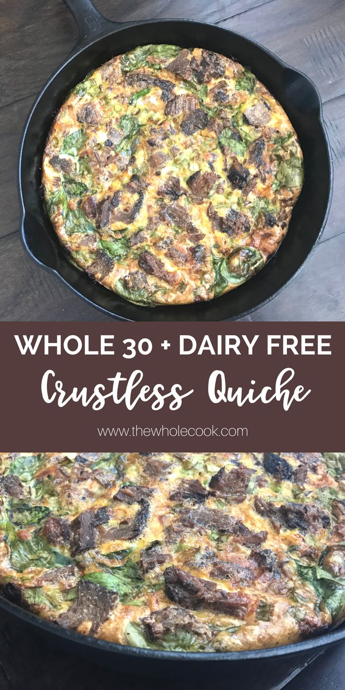 This crustless quiche is dairy free and Whole 30 compliant but doesn't compromise on flavor! You'll be making it again and again!