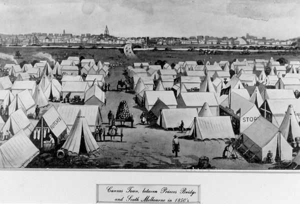 Canvas Town, between Princess Bridge and South Melbourne, 1852  Source: State Library of Victoria