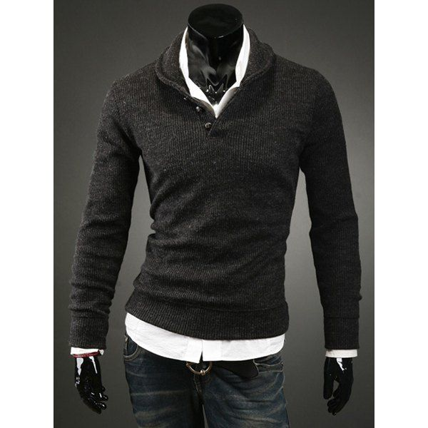 Korean Turn-down Collar Buttons Embellished Solid Color Long Sleeves Cotton Blend Sweater For Men, DEEP GRAY, L in Cardigans & Sweaters | DressLily.com