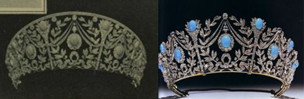 The original gift of the turquoise tiara included a diamond bar over the top of the piece, so as to make it look far more kokoshnic-like. However, this was soon removed after it was given to Elizabeth, Duchess of York in the early years of her marriage to the form we know it as now.